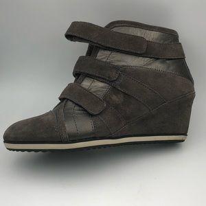 Easy Spirit Wedge Sneakers in Charcoal Suede - 9.5